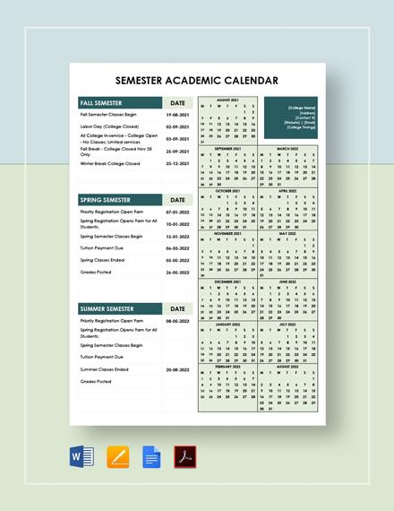 semester academic Calendar  Template