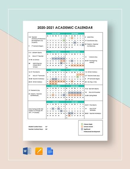 simple academic calendar