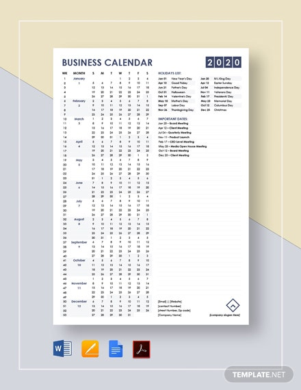 Simple Business Calendar Template