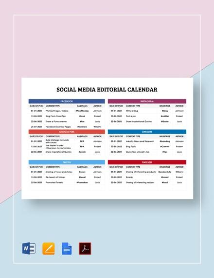 Social Media Editorial Calendar Template