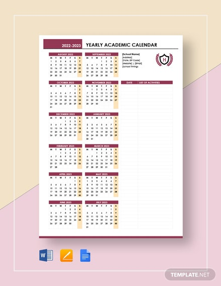 Yearly Academic Calendar Template