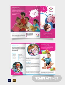 Free Day Care Tri-Fold Brochure Template