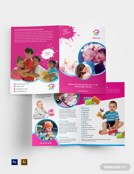 free day care bi fold brochure
