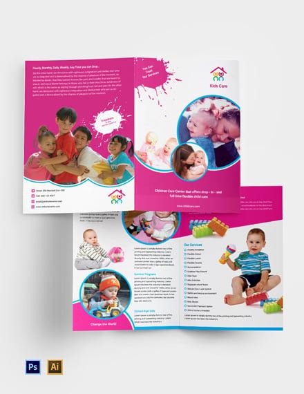 Free Day Care Bi-Fold Brochure Template