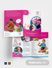 Free Day Care Bi-Fold Brochure Template