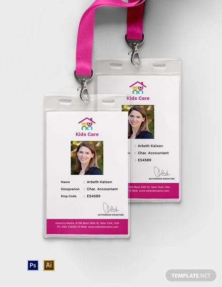 Free Day Care Identity Card Template