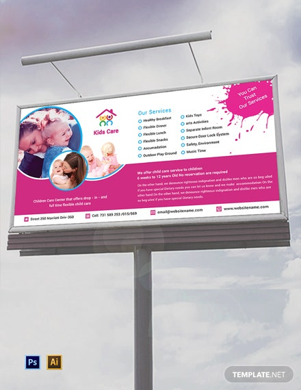 Free Day Care Billboard Template