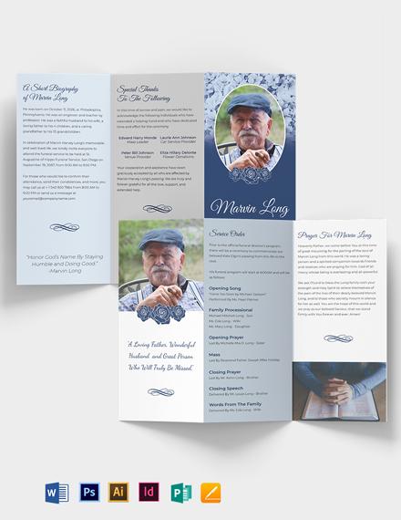 Printable Loving Memory Funeral Tri-fold Brochure Template