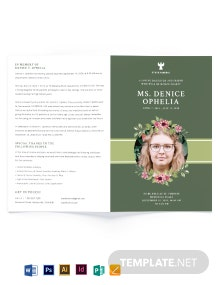 Sample Funeral Obituary Bi-fold Brochure Template