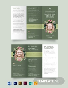 Sample Funeral Obituary Tri-Fold Brochure Template