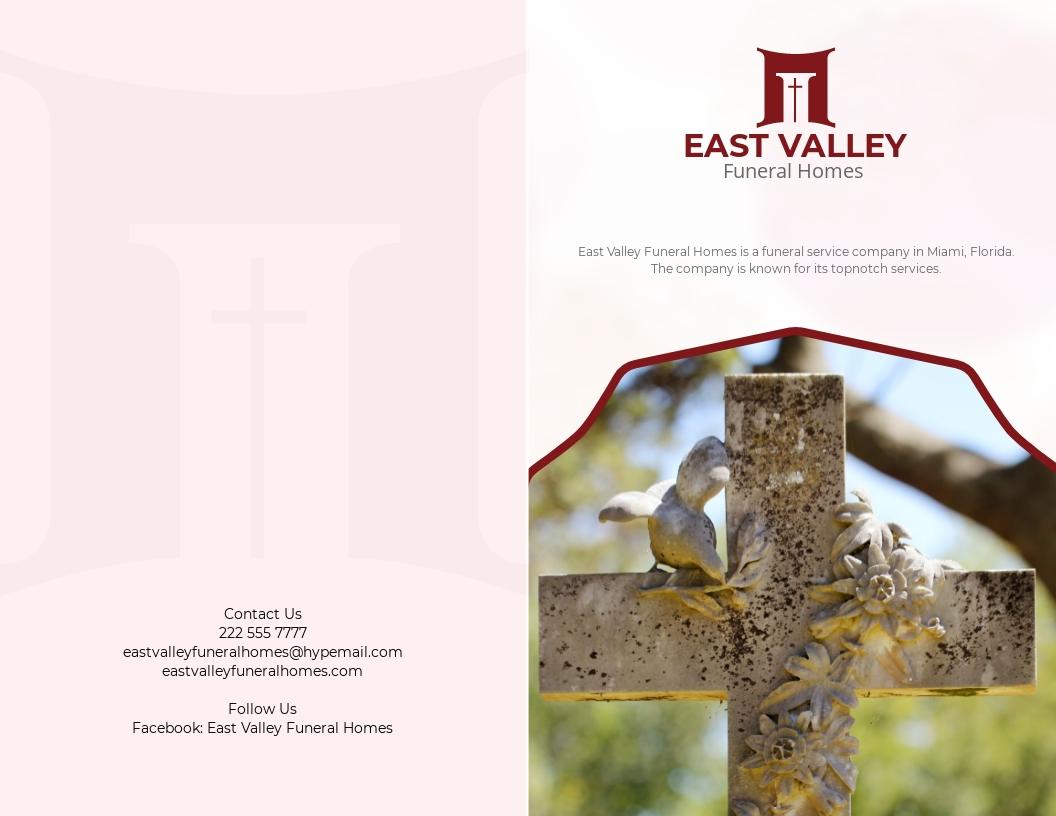 Simple Loving Memory Funeral Bi Fold Brochure Template.jpe
