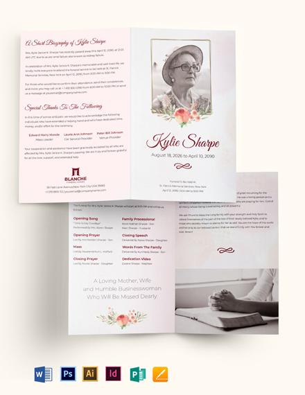 Simple Loving Memory Funeral Bi-Fold Brochure Template