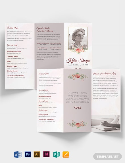 Simple Loving Memory Funeral Tri-Fold Brochure Template