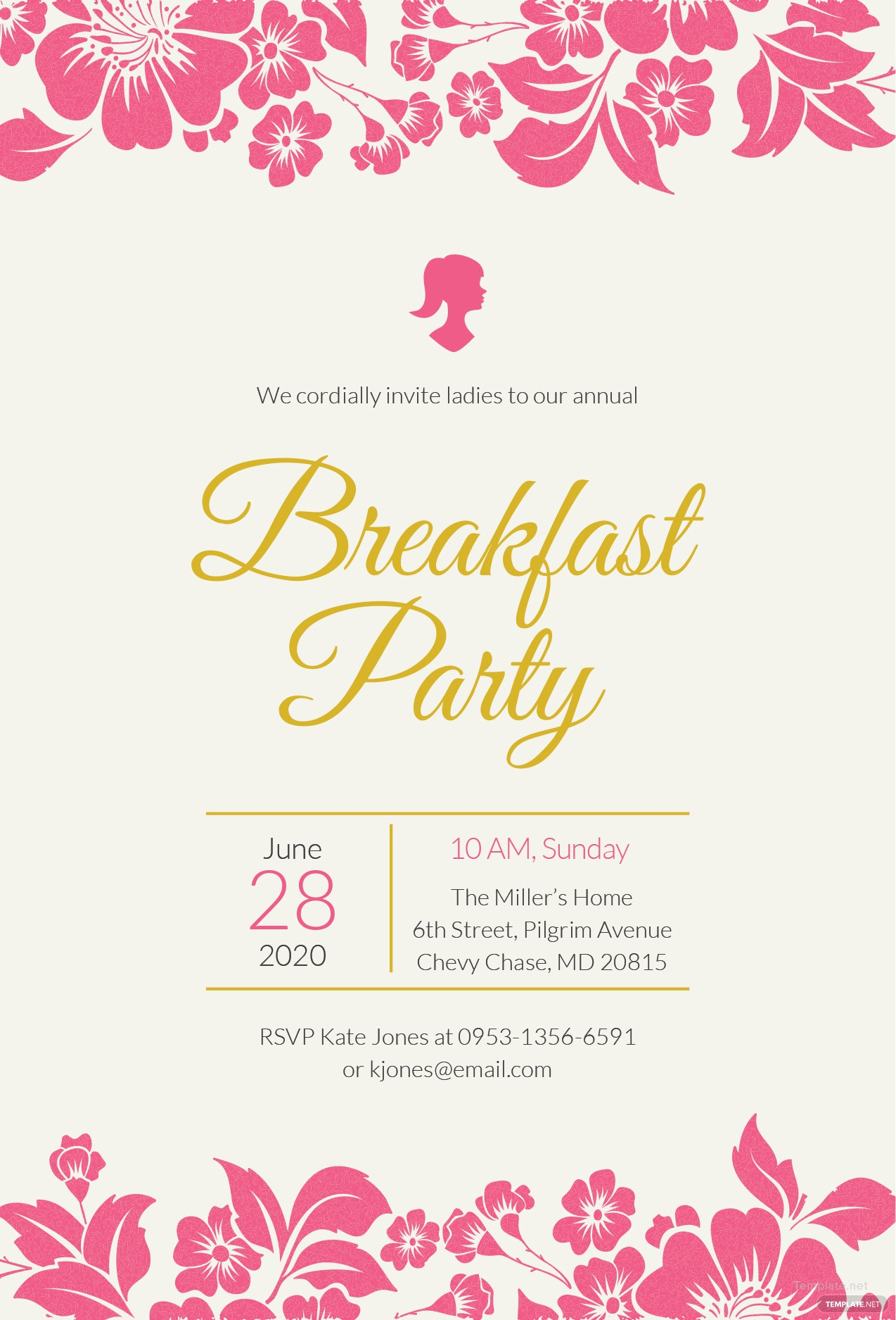 free ladies breakfast invitation template in illustrator