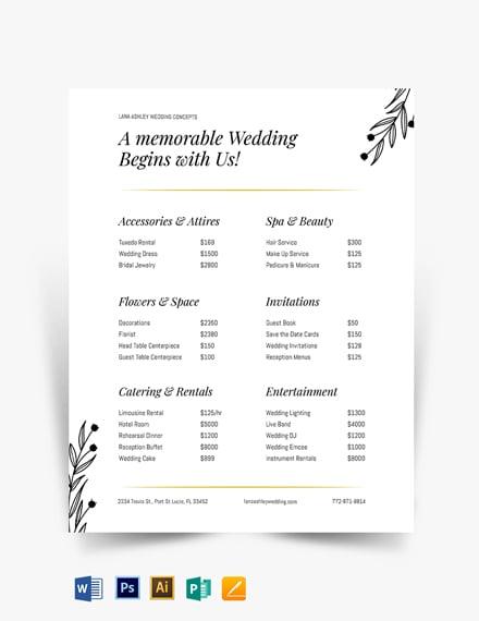 Fall Wedding Event Price List Template
