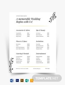 Fall Wedding Event Price List Template