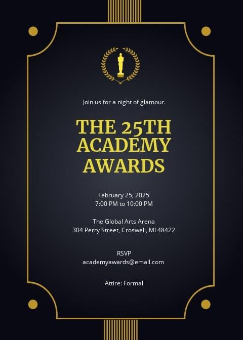 Academy Award Invitation Template