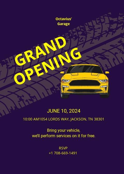 Automotive Repair Shop Opening Invitation Template