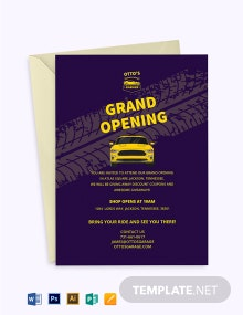 Automotive Repair Shop Opening Invitation Template