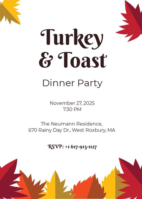 Autumn Dinner Party Invitation Template