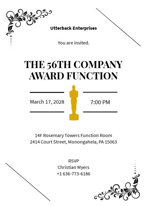 Award Function Invitation Template