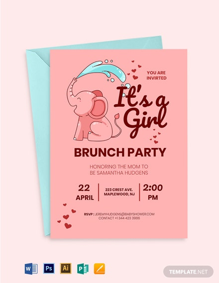 Baby Girl Brunch Shower Invitation Template