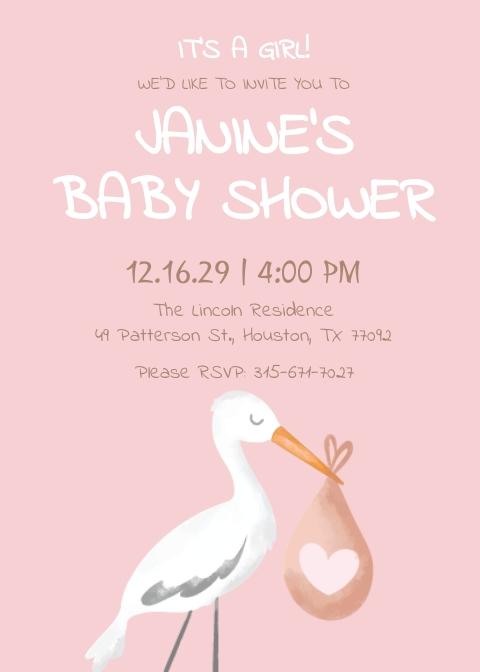 Baby Shower Girl Invitation Template