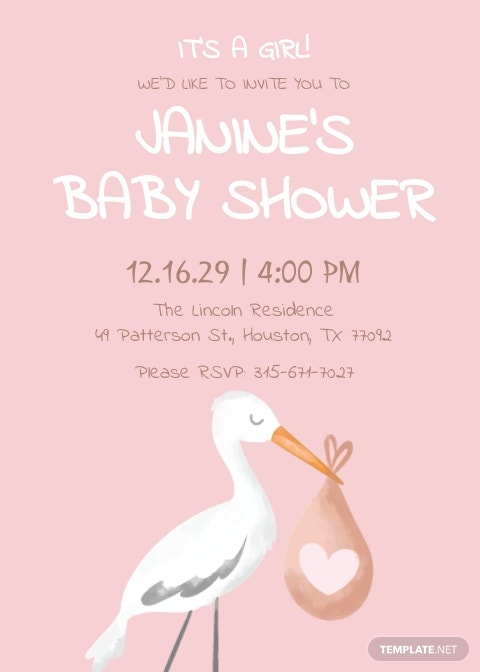 Baby Shower Girl Invitation Template