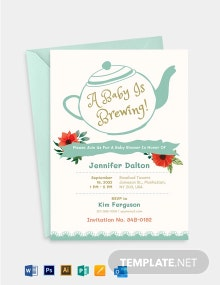 Baby Shower Tea Party Invitation Template
