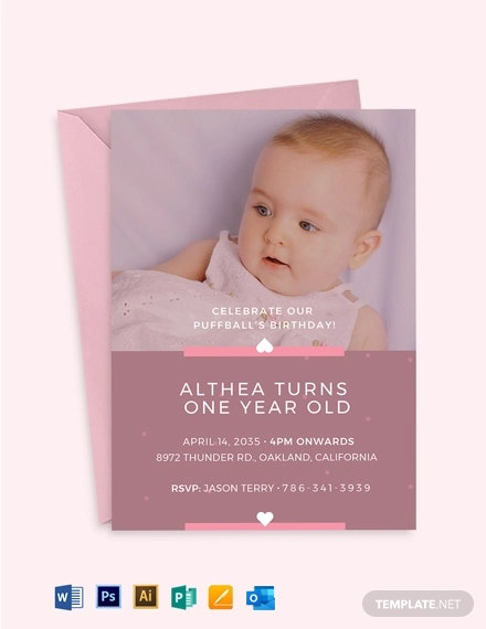 Baby's 1st Birthday Invitation Template