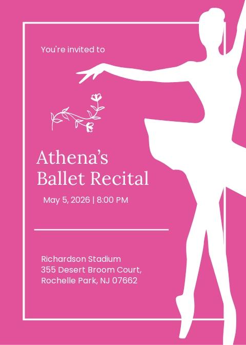 Ballet Invitation Card Template