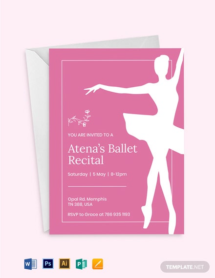 Ballet Invitation Card Template