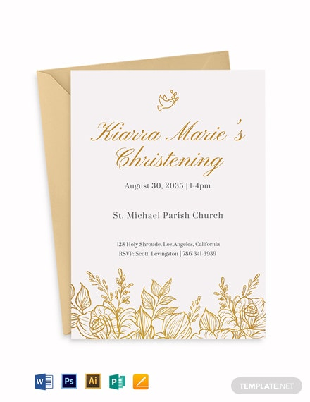Baptism Gold Florist Invitation Template