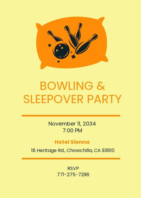 Bowling Sleepover Invitation Template.jpe