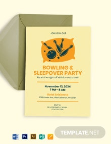 Bowling Sleepover Invitation Template
