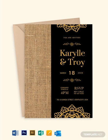Burlap And Lace Fall Wedding Invitation Template