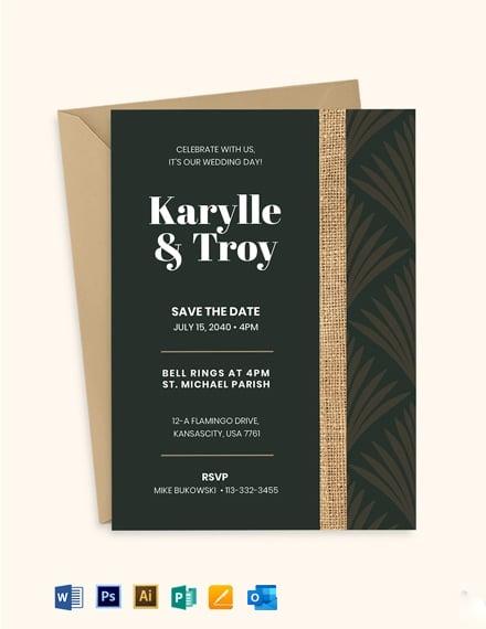Burlap Wedding Invitation Suite Template