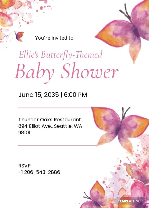 Butterflies Theme Baby Shower Invitation Template