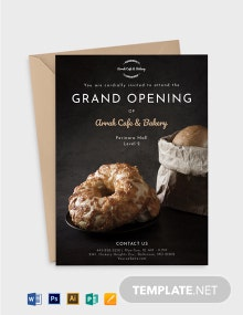 Cafe And Bakery Opening Invitation Template