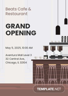Cafe And Restaurant Opening Invitation Template