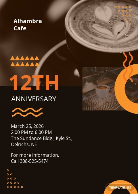 Cafe Anniversary Invitation Template