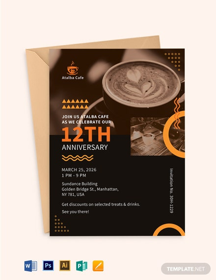 Cafe Anniversary Invitation Template