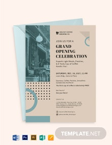 Cafe Opening Invitation Card Template