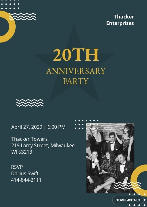 Company 20th Anniversary Invitation Template