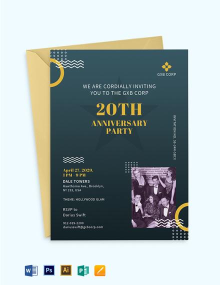 Company 20th Anniversary Invitation Template