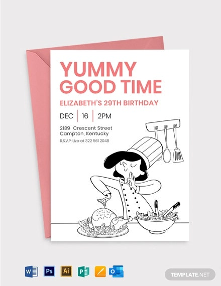 Cooking Birthday Invitation Template