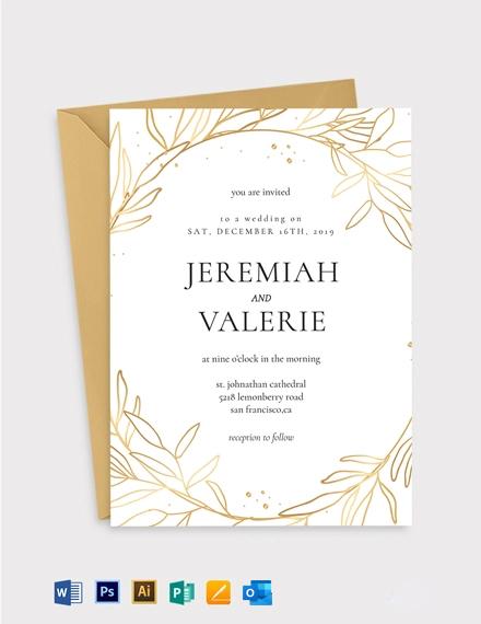 Copper Foil Fall Wedding Invitation Template