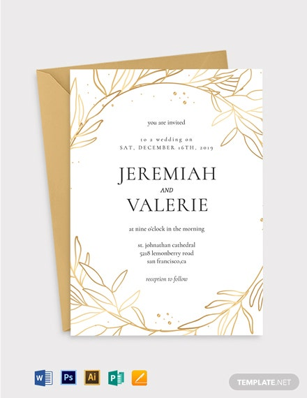 Copper Foil Fall Wedding Invitation Template
