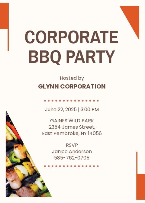 Corporate BBQ Invitation Template