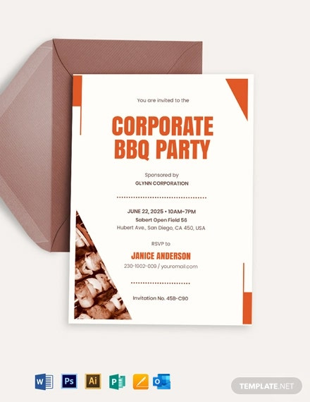 Corporate BBQ Invitation Template
